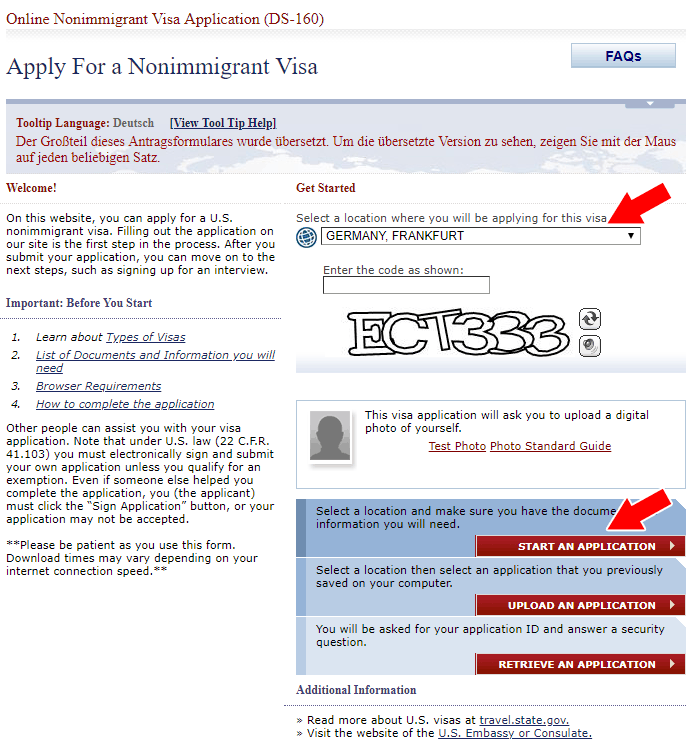 Visa application home page