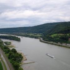 """Rheinsteig Stage 4 -View on the Rhine from the \""""Rheinsteig Schutzhütte\"""" Rheinbrohl"""