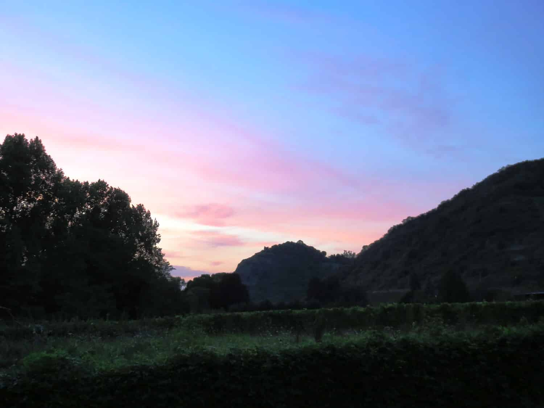 Rheinsteig Stage 4 - View to the vineyards of Leutesdorf after sunset