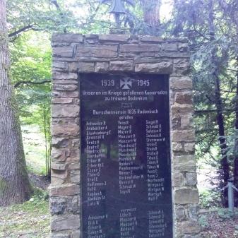 Rheinsteig Stage 5 - Commemorative plaque of fallen soldiers in World War 2