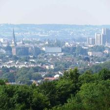 Rheinsteig Stage 1 - View of Bonn from the viewing platform blue lake in Oberkassel